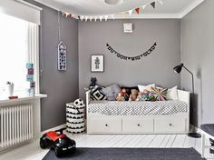 Grey Kids Room With Ikea Hemnes Bed The Boo And The Boy
