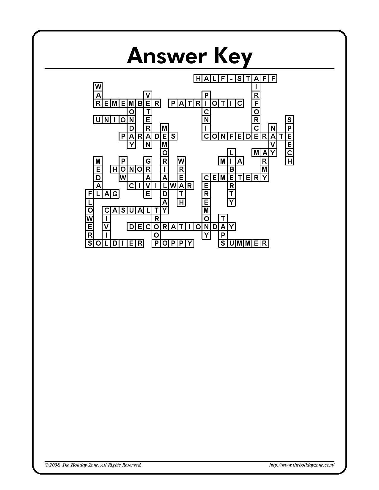 Memorial Day Crossword Puzzle Answer Sheet