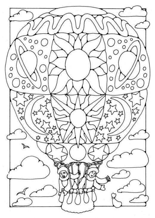 Free Hot Air Balloon With Doodles Coloring Page For Grown