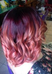 red violet rose gold ombre hair
