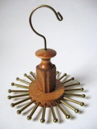 Vintage MODERNIST Wood & Brass Hanging Revolving 24 Peg ...