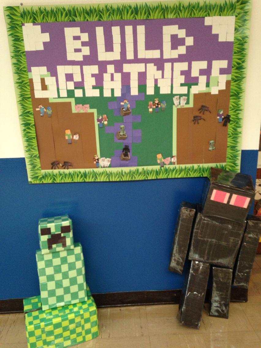 Back To School Or Year Round Classroom Bulletin Board Idea Minecraft Build Greatness Teecher