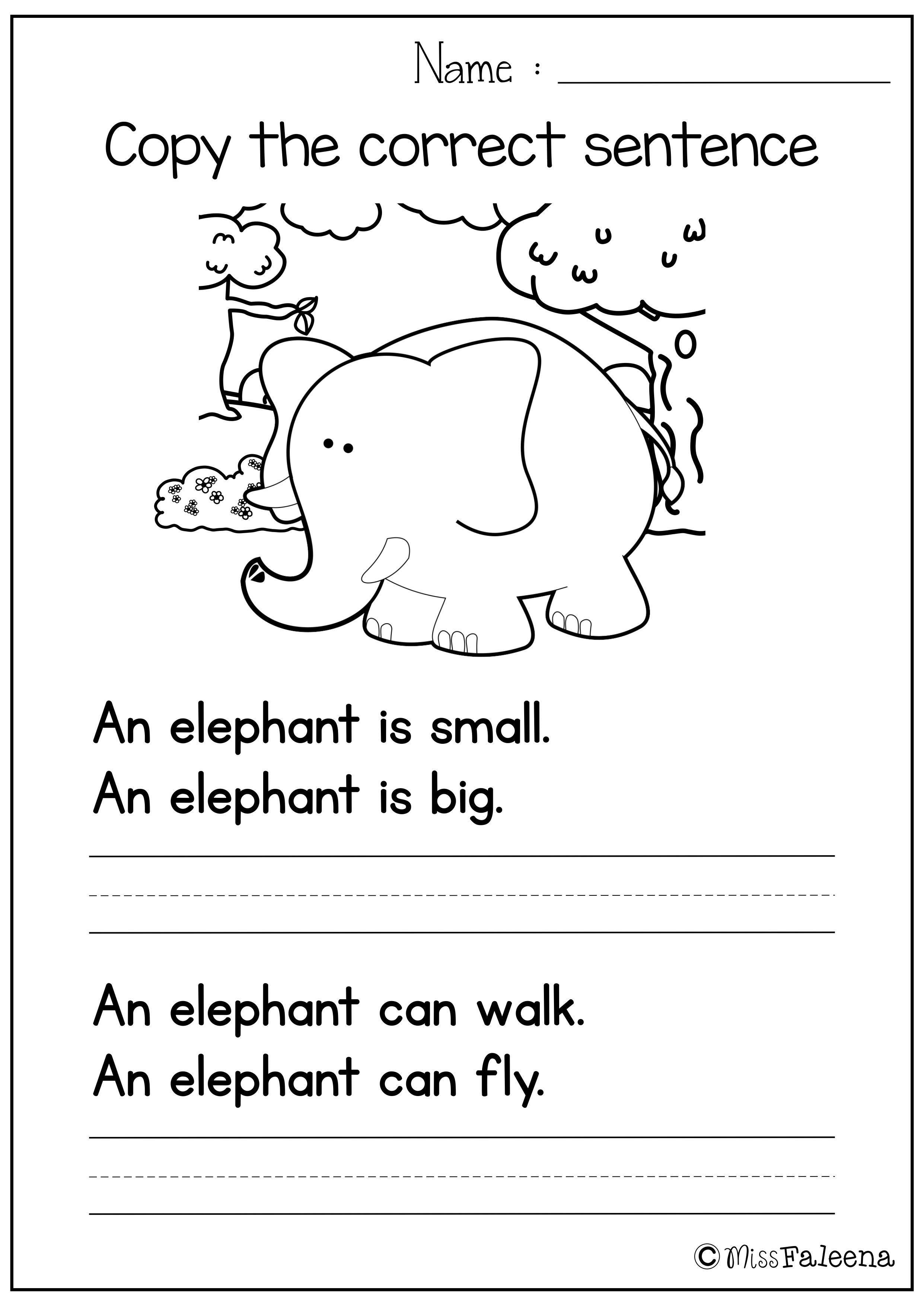 Sentence Writing Set I Copy The Correct Sentence