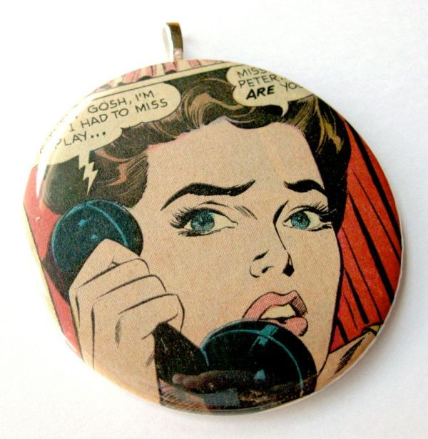 Christmas Ornament Romance Recycled Vintage Comic