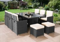 Cube rattan garden furniture set chairs sofa table outdoor