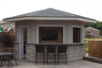 5 sided shed/pool house/cabana featuring stucco exterior ...