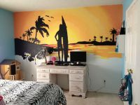 Beach sunset mural my husband and I painted for my 10 year ...