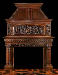 French carved Trumeau Fireplace Mantel Cheminee | Antique ...