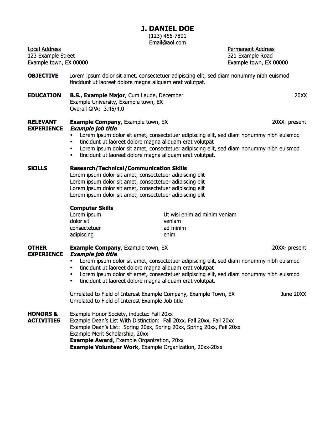 Sample Resume With Professional Title For Job Objective