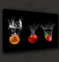 Black fruits splash modern kitchen art canvas print poster ...