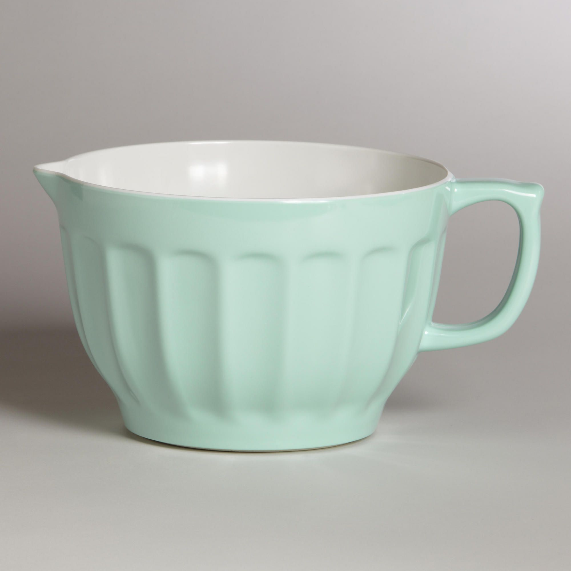 kitchen cups and plates trashcans mint melamine batter bowl green colors