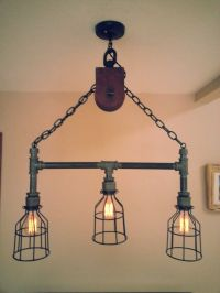 Hanging Industrial Pipe Pulley Light With 3 by