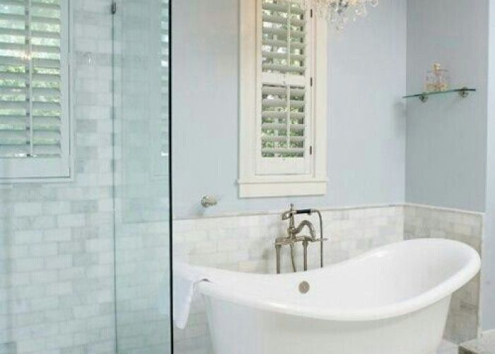 White tile with gray veins window shutters soaking tub glass shower also bathroom remodel pinterest