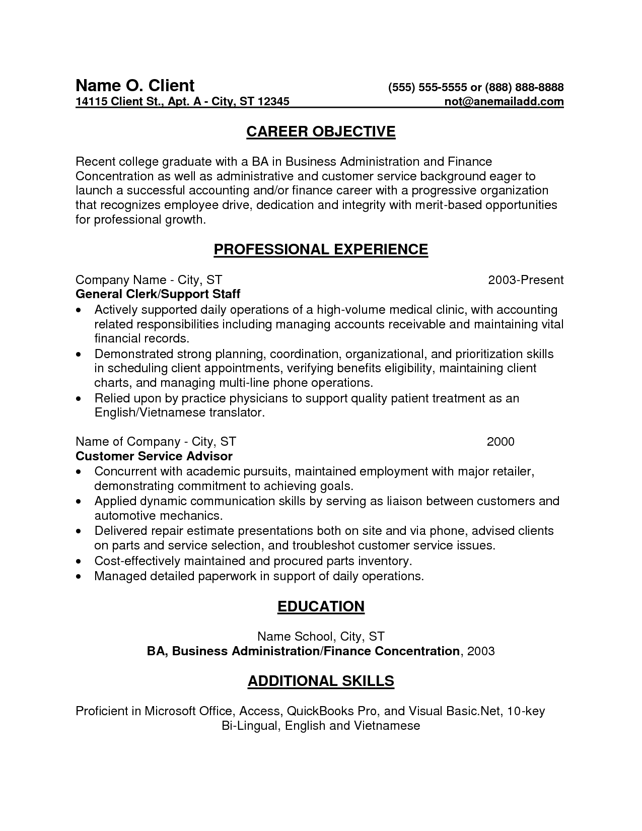 Resume Entry Level Objective Examples