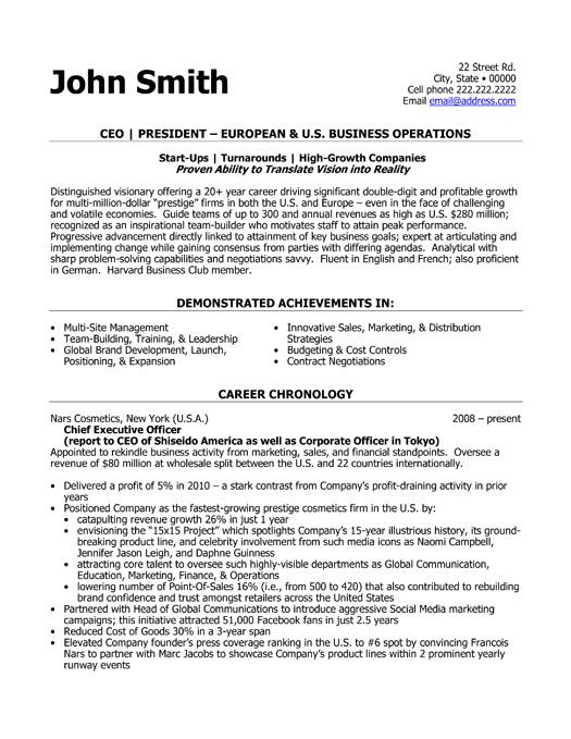 Sample Resume Ceo Example Executive Or Ceo Careerperfectcom