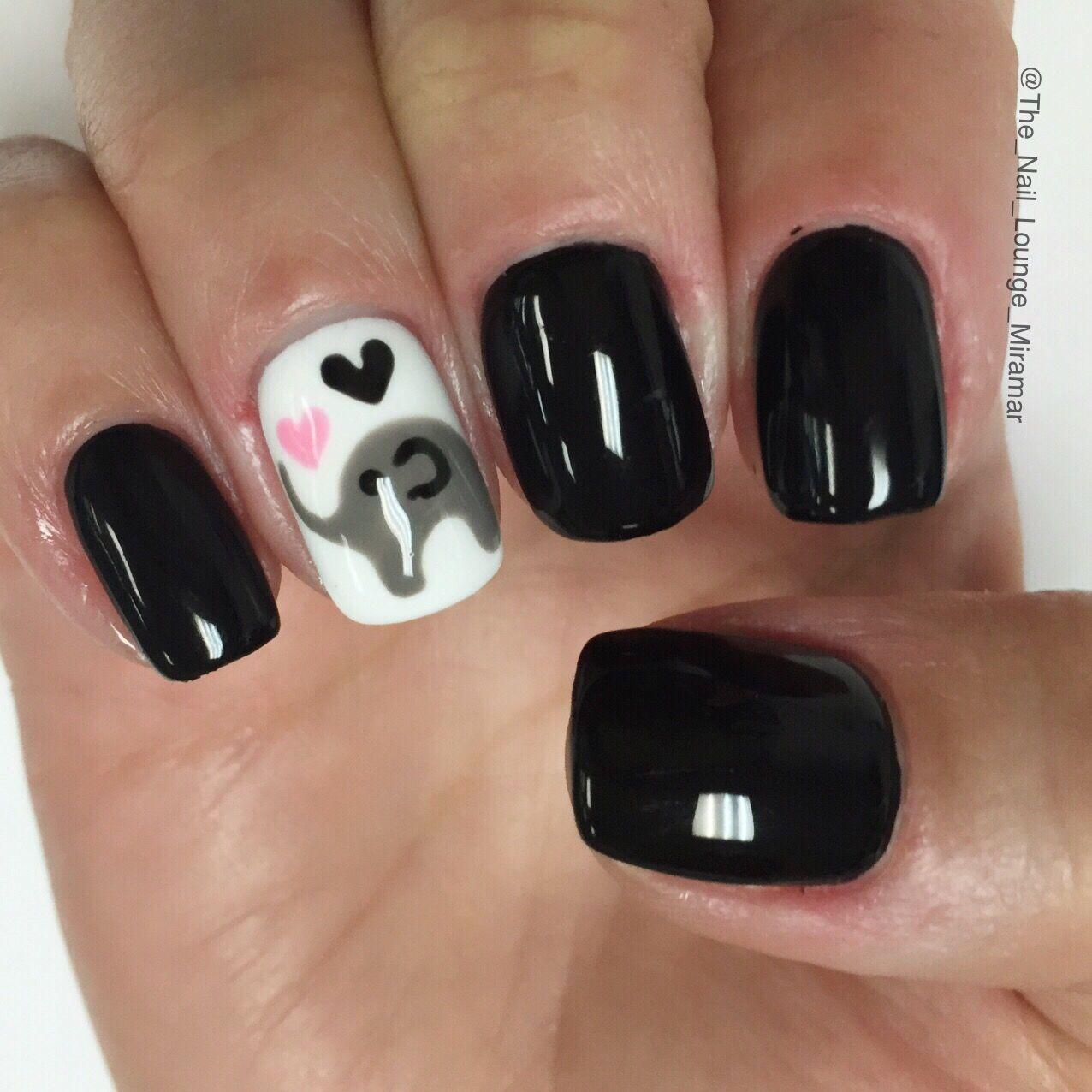 Baby elephant baby shower nail art design