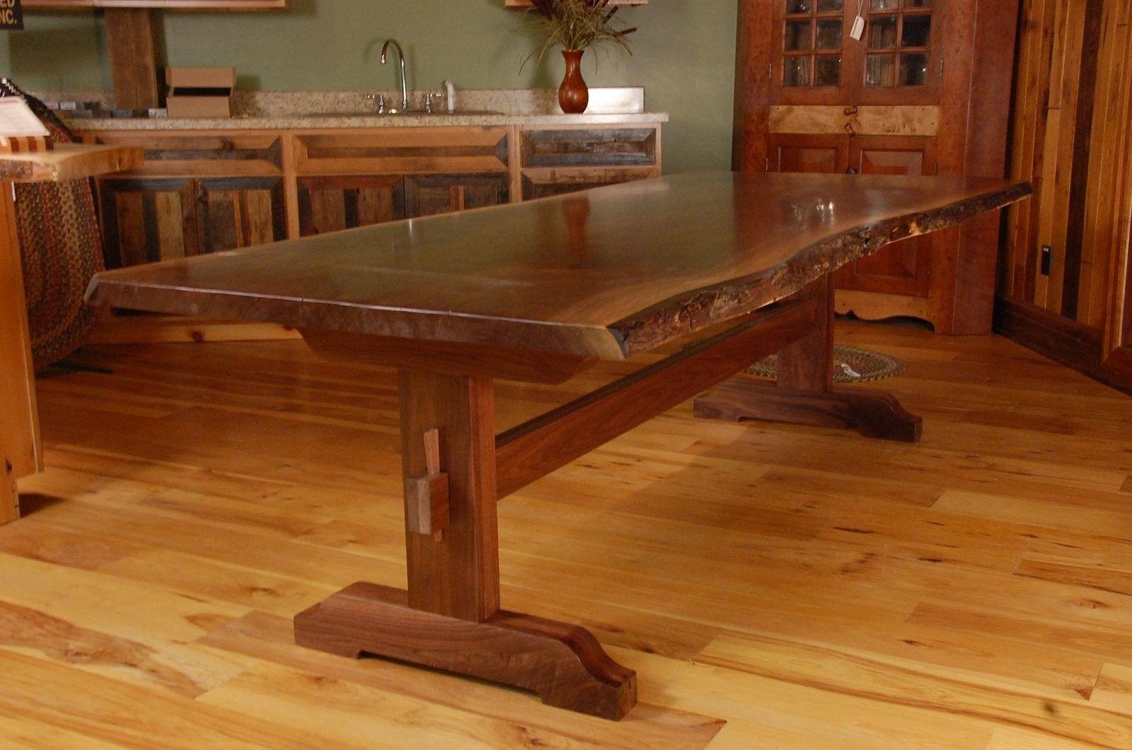 Custom Made Live Edge Walnut Slab Trestle Dining Table