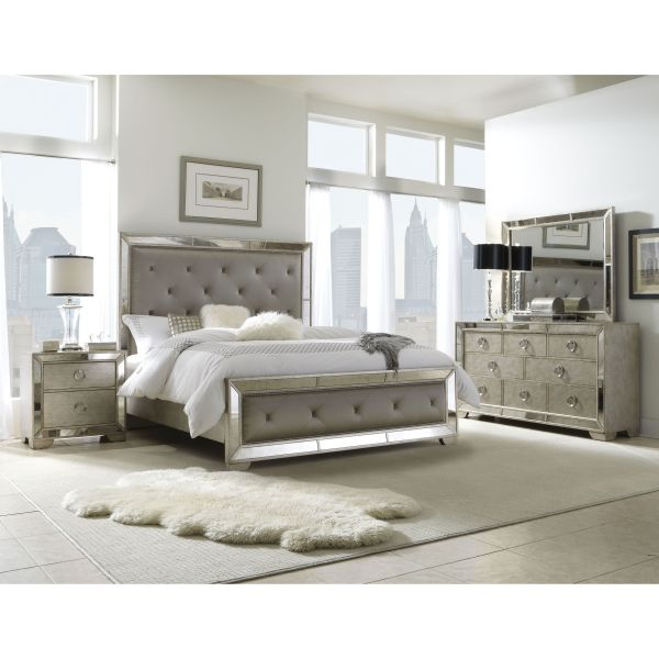 Celine 5-piece Mirrored And Upholstered Tufted King-size