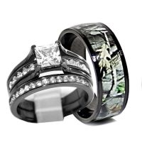 His and Hers 925 Sterling Silver Titanium Camo Wedding ...