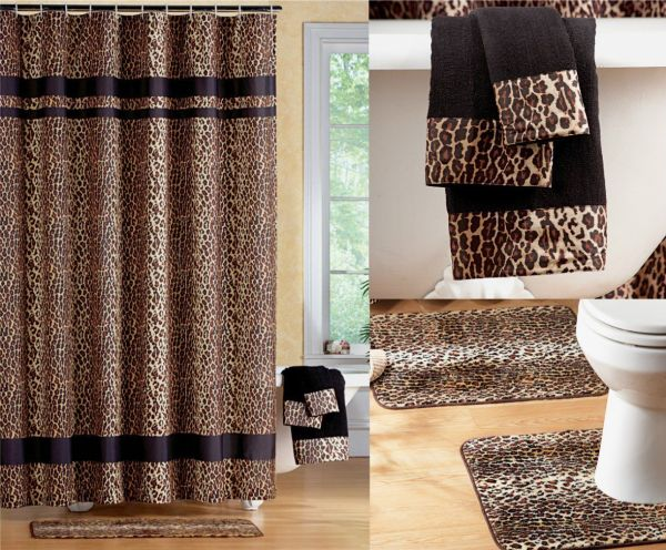Fabulous Black Brown Jungle Animal Leopard Print Bathroom Shower Curtain 2 Pc Rug