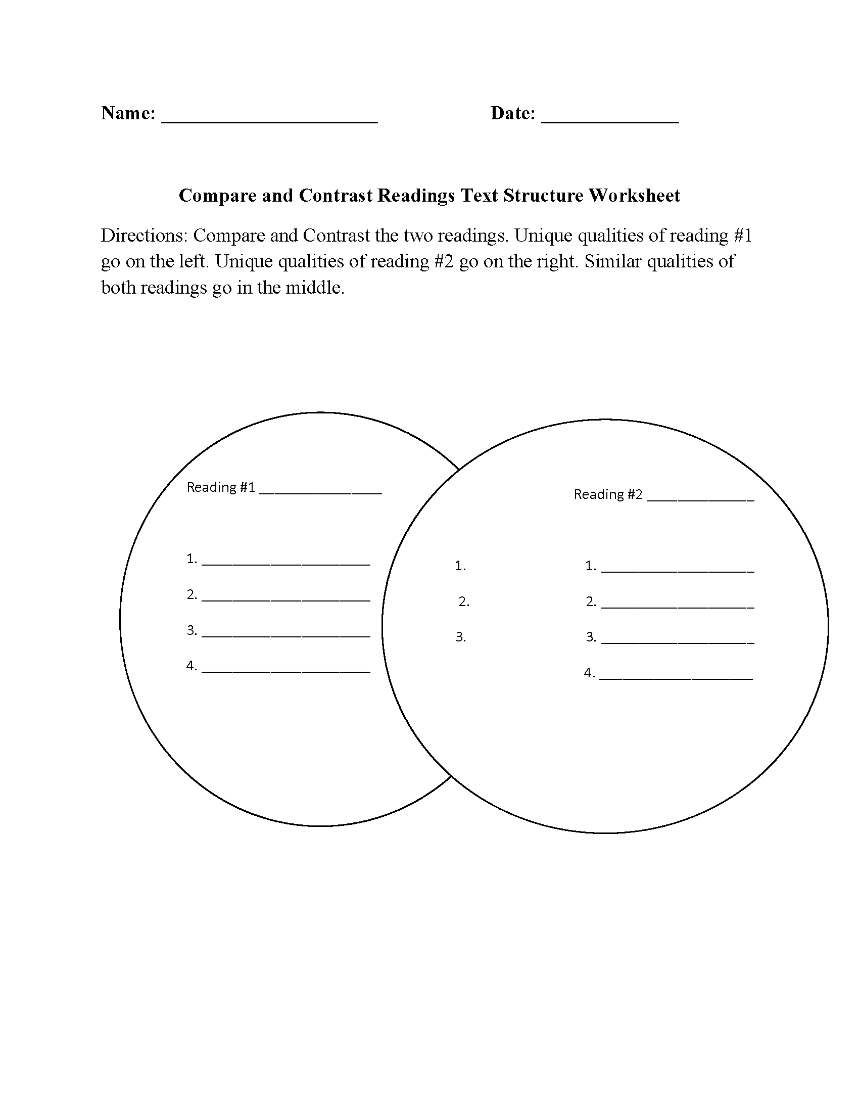 Worksheet Compare And Contrast Worksheets 3rd Grade