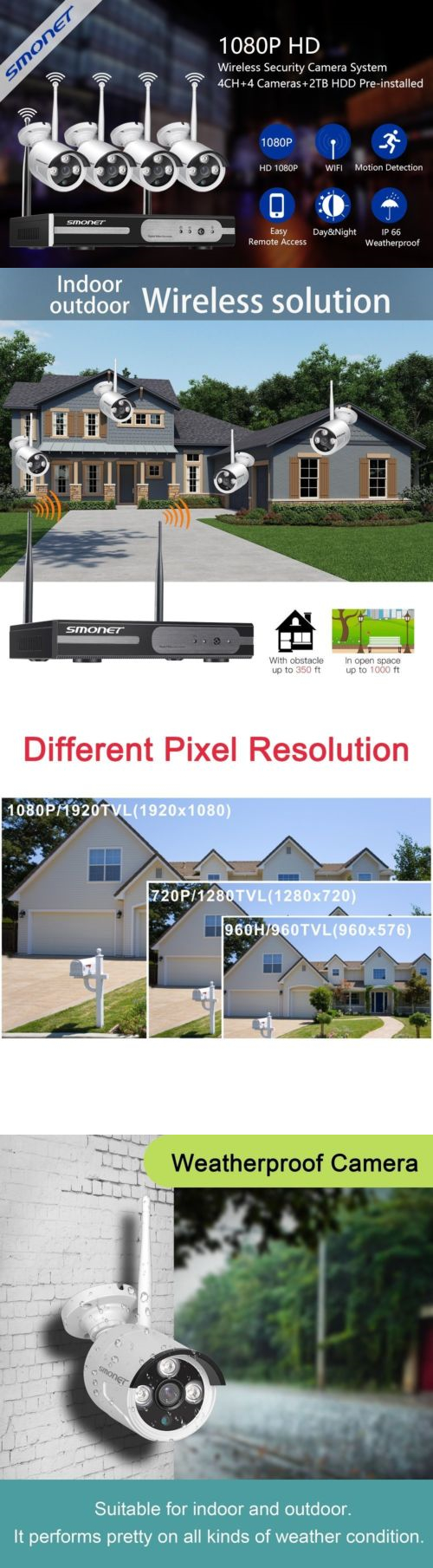 medium resolution of security cameras outdoor wireless clear picture 4 1080p security bullet ip camera system 2tb nvr