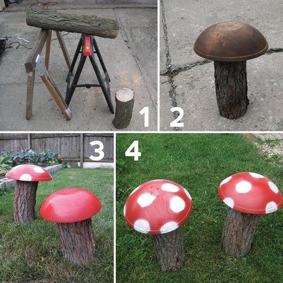 DIY Garden Decoration Ideas Old Things Mushrooms Wood Logs DIY
