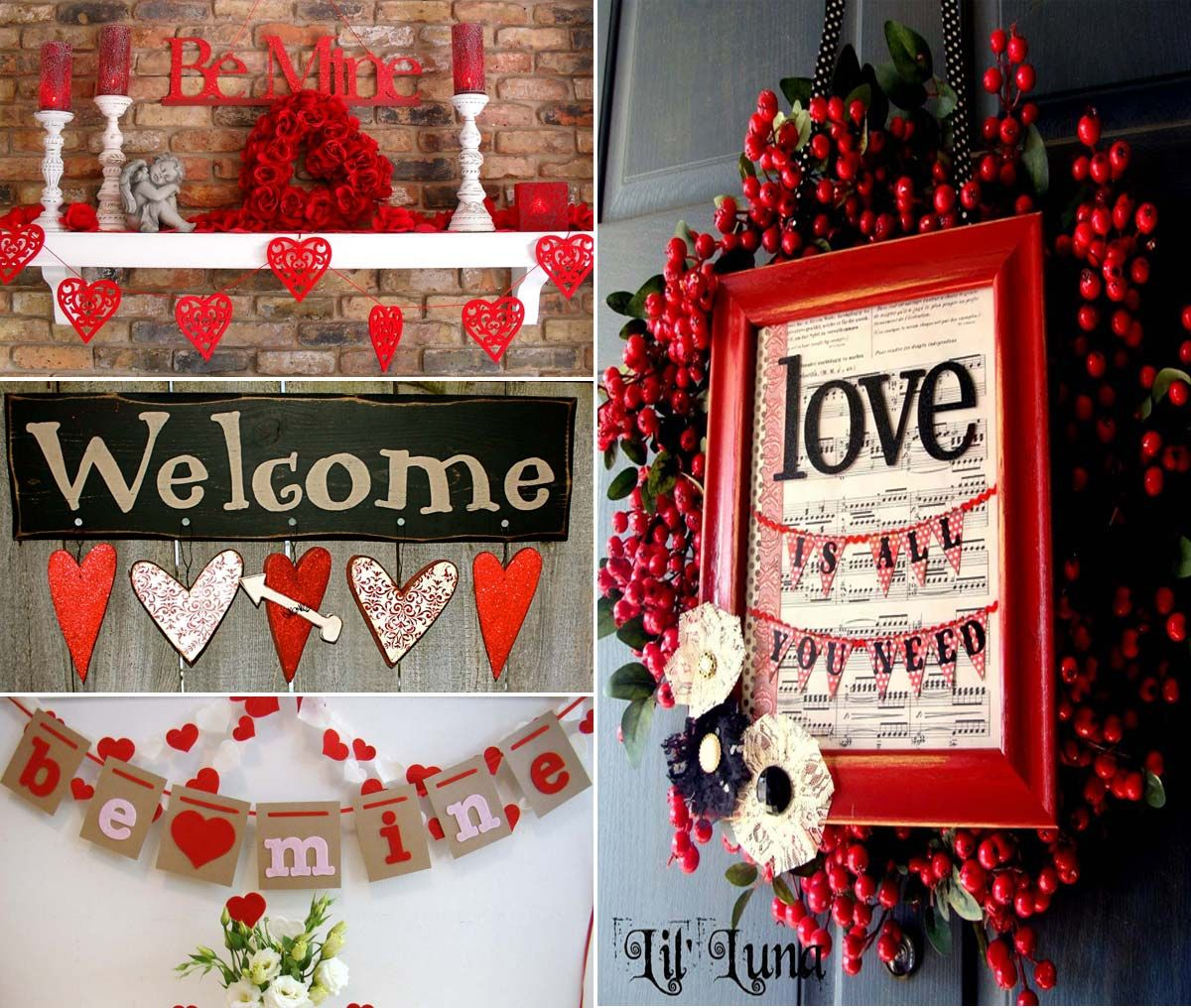 Use Christmas Wreaths And Candles But Add Valentine's Hearts And