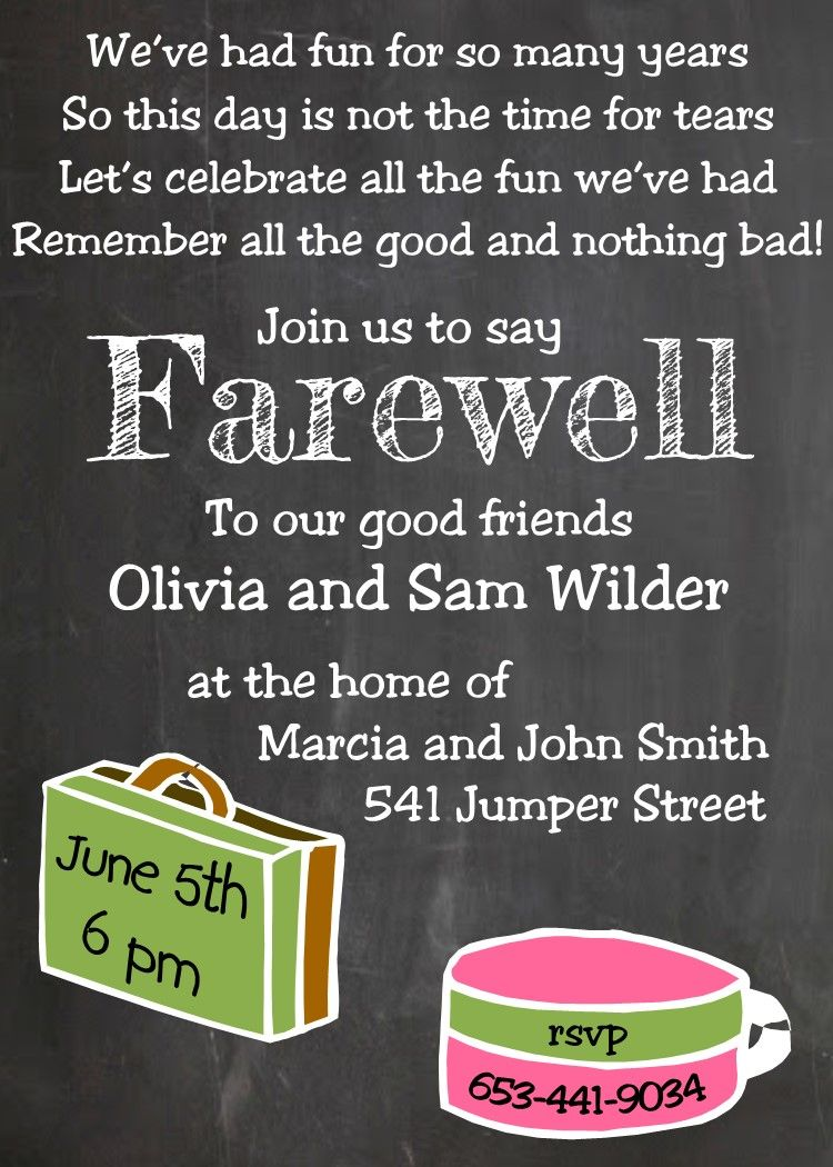 Going Away Party Invitations NEW Selections Chalkboard