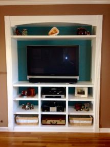 Closet Space Turned Built In Entertainment Center
