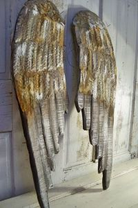 Angel wings large wood carved wall sculpture pewter rusty ...