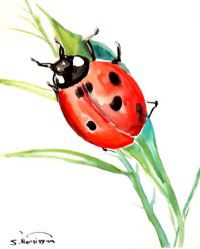 Lady Bug, original watercolor painting, 10 X 8 in, nursery ...