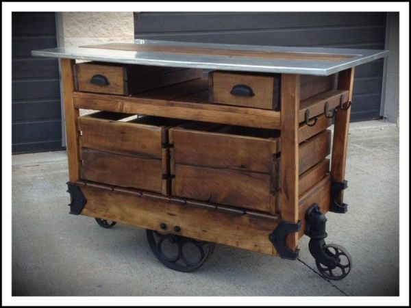 Furniture rustic kitchen island with iron caster wheels