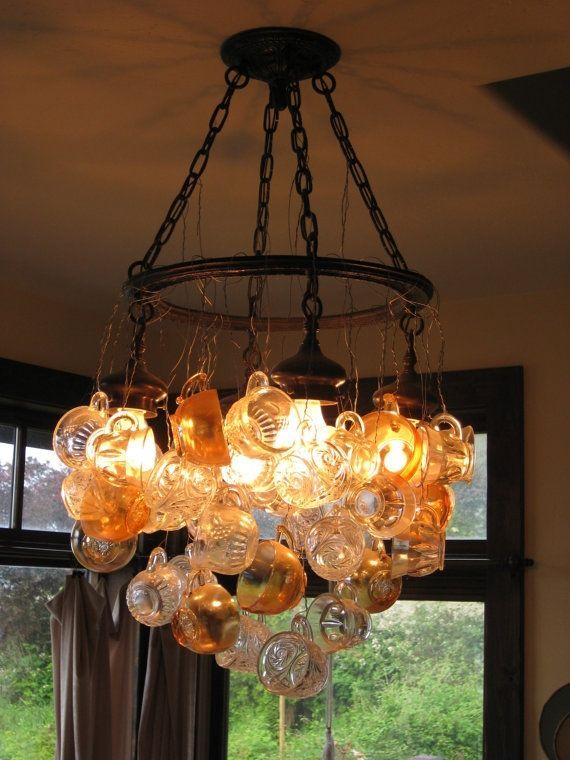 Another Innovative Chandelier Made From A Variety Of Glass Tea Cups In Similar Tones I