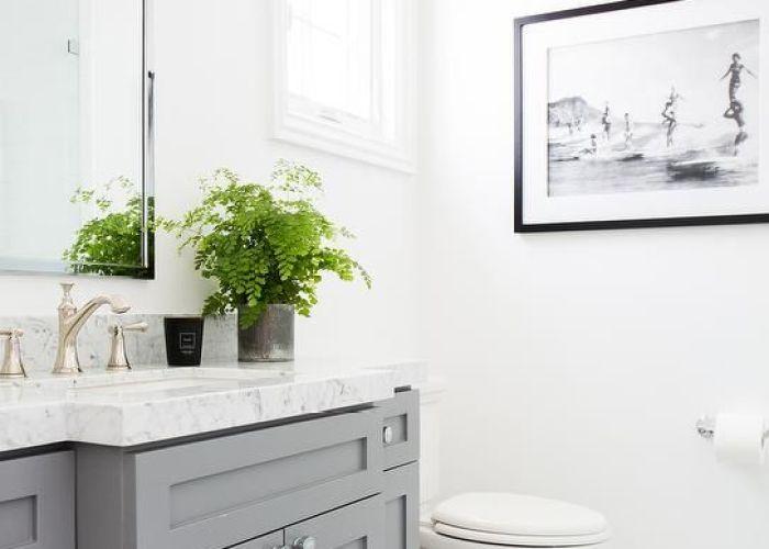 Gray vanity with carrera marble herringbone floor transitional bathroom benjamin moore chelsea also