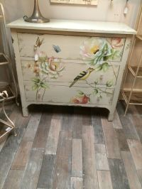 Shabby Chic Aged Cream Wood Painted Bird Butterfly Chest ...