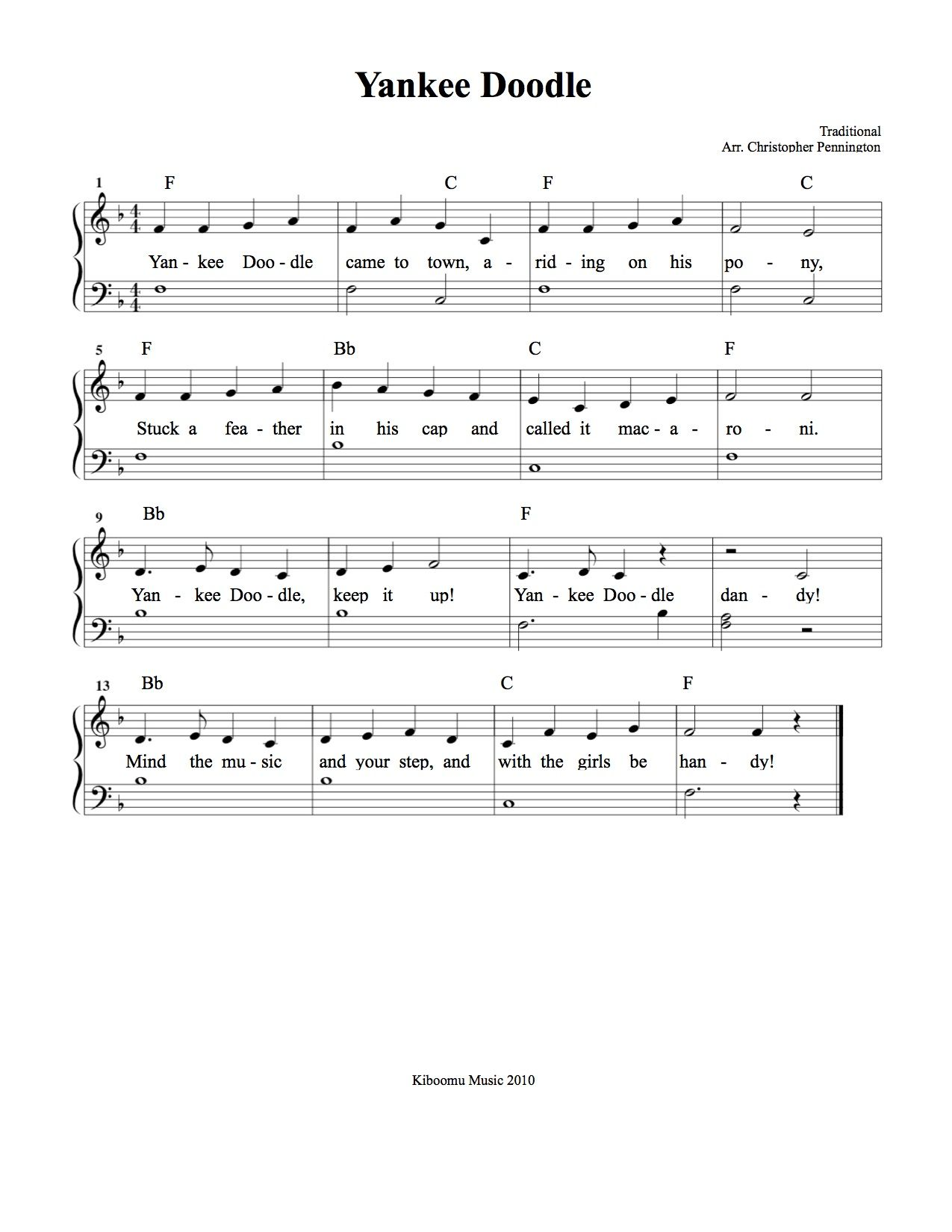 Yankee Doodle Sheet Music And Song From Kiboomu