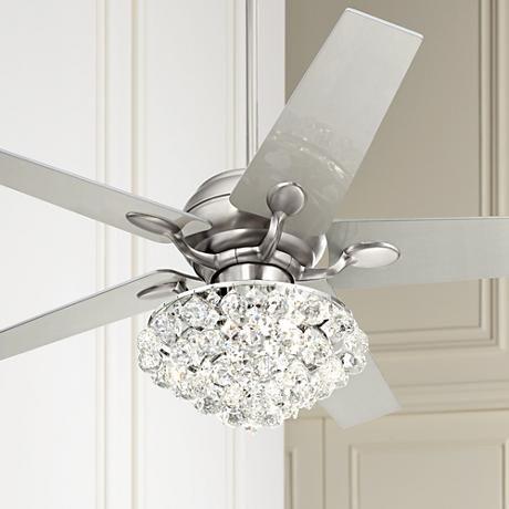 52 Casa Optima Brushed Steel Crystal Ceiling Fan