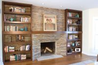 Fireplace Bookshelves Design Made Of Wood In Rectangular ...