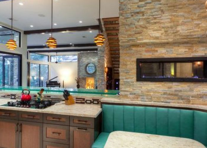 Cabinets merge to banquette open concept kitchen ideas design pictures remodel decor also