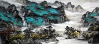 Rural River Mountain Landscape Abstract art Chinese ...