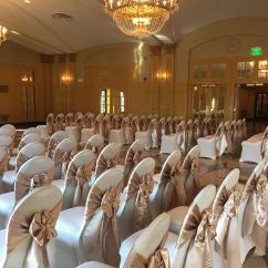 Wedding Chair Covers Pinterest Ebay Poang Champagne Satin Sashes On Ivory Spandex In The