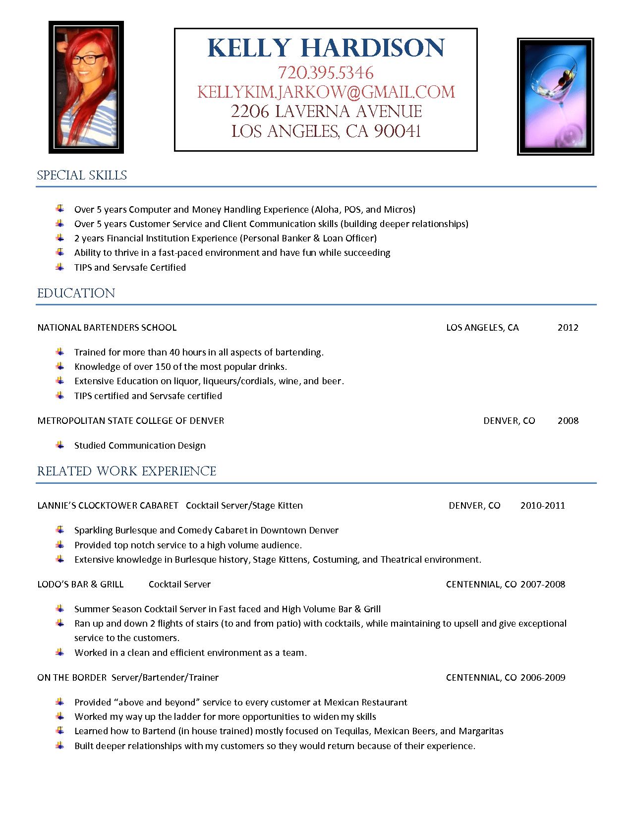 Resume Template For Bartender Resumecareer Info