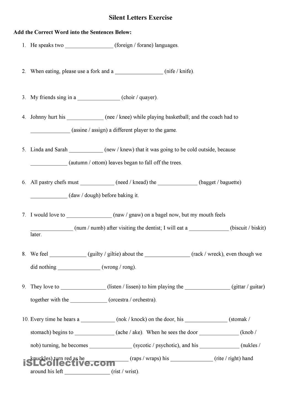 English Silent Letters Excercise Engelsk Mellomtr N P Terest