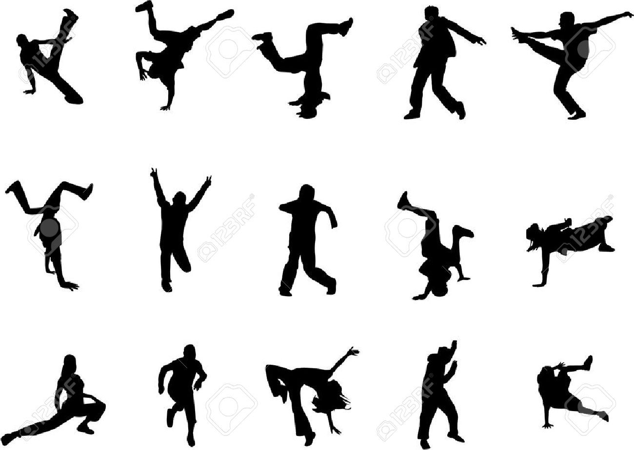 Hip Hop Dance Silhouettes Royalty Free Cliparts Vectors