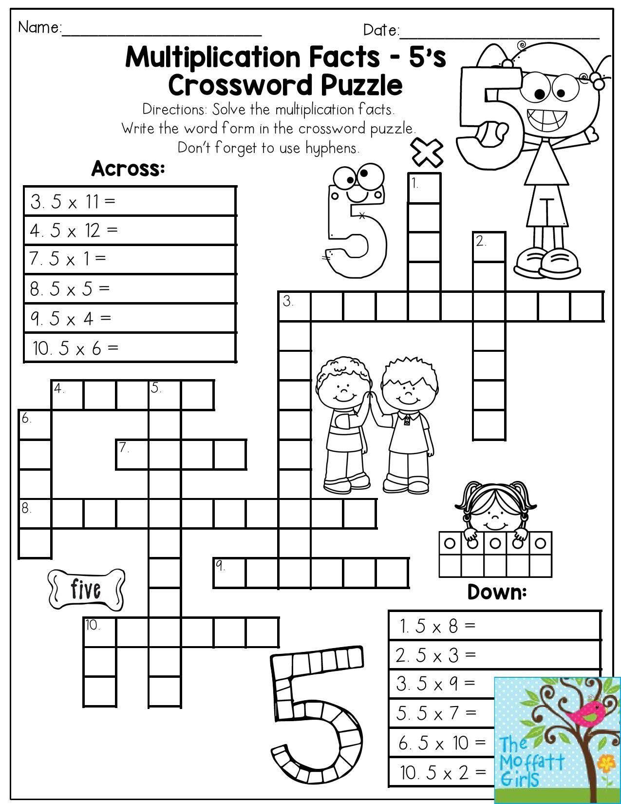 Multiplication Facts Crossword Puzzle Third Grade Students Love This One It Makes Practicing