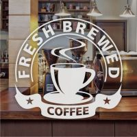 Fresh Brewed Coffee Window Sign Sticker Restaurant Graphic ...