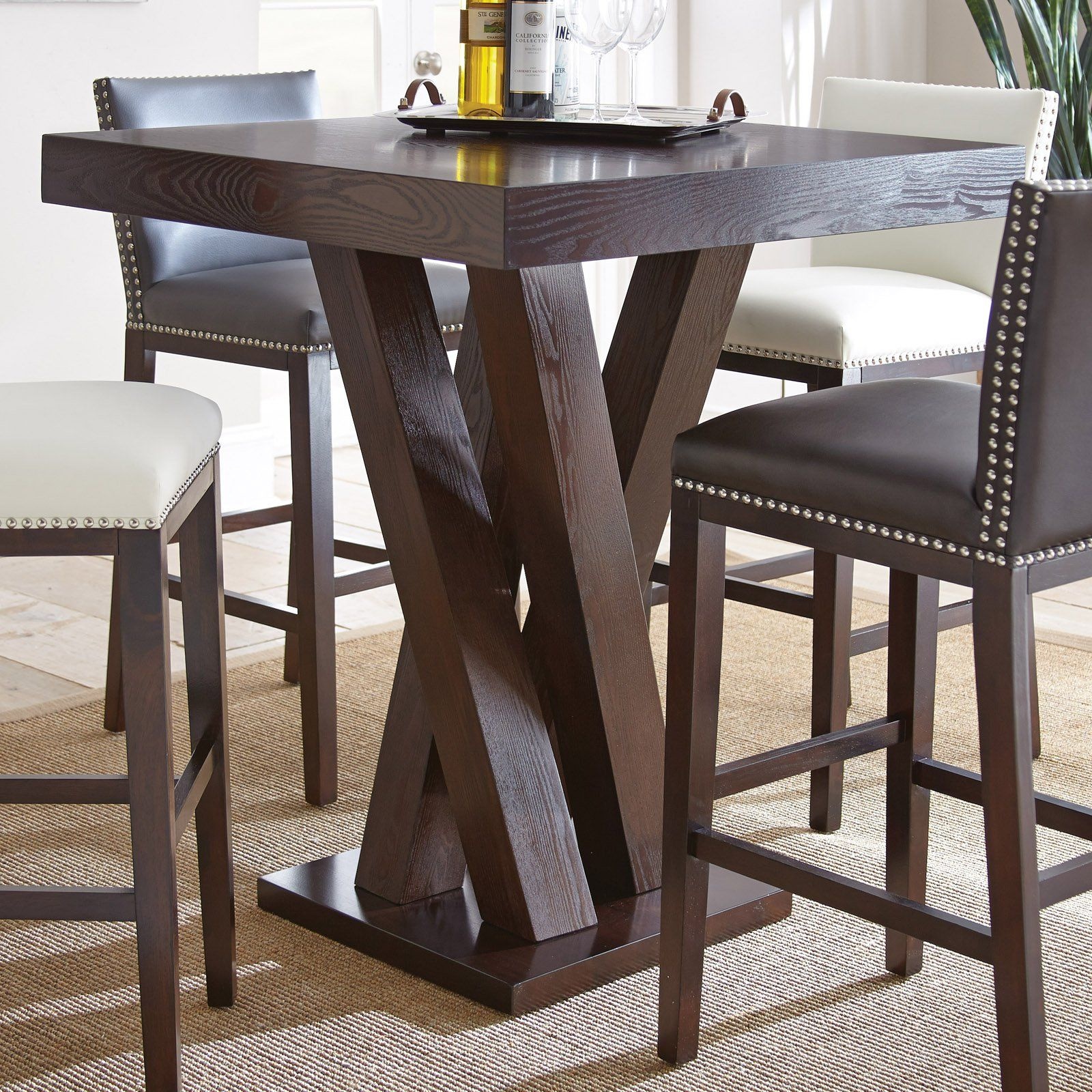 Pub Table With Chairs Steve Silver Tiffany Square Bar Height Table From