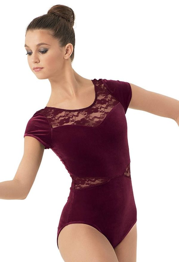 Lace Inset Plush Short-sleeve Leotard Balera Dance