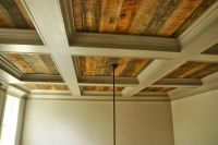 Coffered ceiling with rustic wood #cofferedceiling #rustic ...